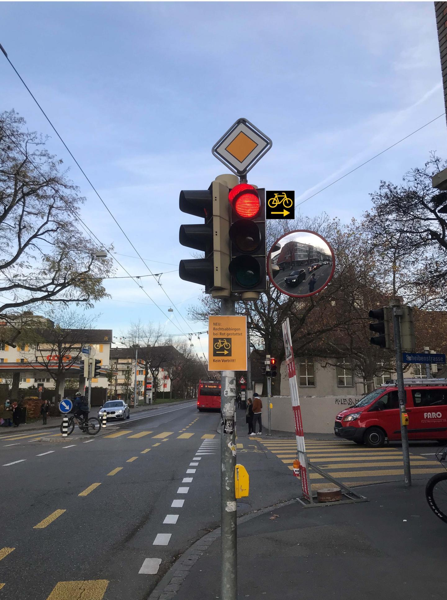 Bei neuem Signal dürfen Velos bei Rot rechts abbiegen