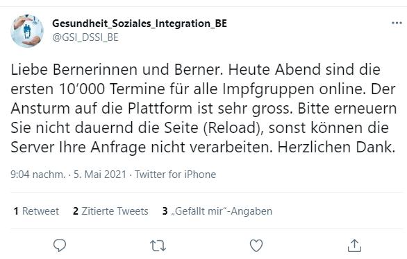 Tweet der Gesundheitsdirektion des Kantons Bern.